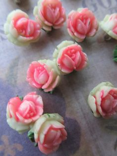 3 Vintage Hand Painted Pink Rose Beads via Etsy