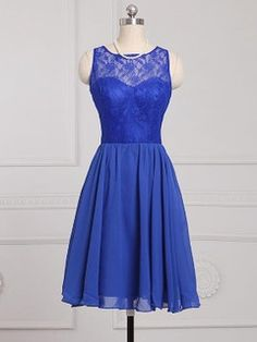 Royal Blue Scoop Neck Chiffon Knee-length Lace Popular Bridesmaid Dress - dressesofgirl.com