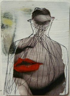 'freddie' by NYC mixed media artist Veronica Leto. magazine ephemera, acrylic paint, ink. ACEO 2.5 x 3.5 in. rounded corners.
