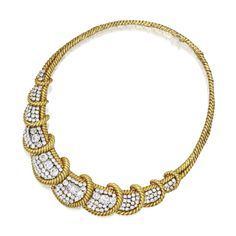 18 Karat Gold, Platinum and Diamond Necklace, David Webb The front featuring curved panels set with round, old European and cushion-cut diamonds weighing approximately 18.40 carats, accented by gold ropetwist accents, gross weight approximately 76 dwts, internal circumference 14 inches, signed Webb.