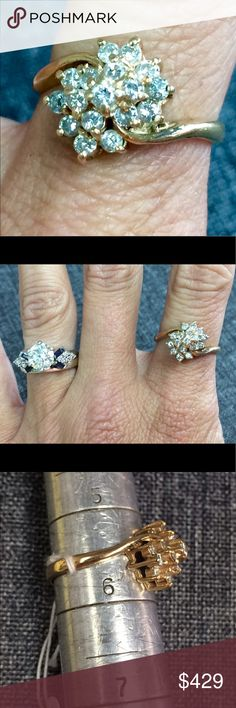 14k YG Diamond Cluster Ring gold Beautiful 14k yellow gold .75 cttw diamond cluster ring. Size 5.5. This ring, as well as all our gold rings, can be sized by our jeweler to fit you. Jewelry Rings