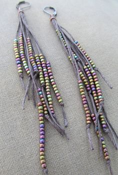 Vegan Feather Glass and Hemp Earrings by PerpetualSunshine111, $24.00