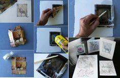 acetona  tiner p umedecer  foto de revista, com uma espátula em movimentos diagonais raspar a imagem e transferir para um papel