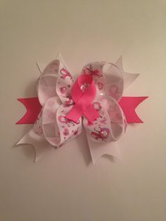Breast Cancer Awareness Hair Bow $6. www.facebook.com/justaboutbows