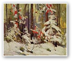 Quality print by Group Of Seven artist Tom Thomson - Wood Interior Winter; Available framed, giclee canvas. Made In Canada. Winter Landscape, Landscape Art, Landscape Paintings, Acrylic Paintings, Emily Carr, Canadian Painters, Canadian Artists, Group Of Seven Artists, Tom Thomson Paintings