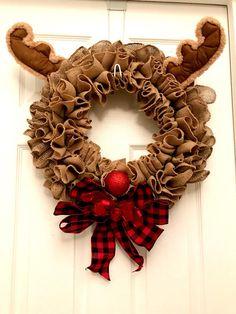 Christmas wreath, Rudolph wreath, Rudolph the red-nosed reindeer, Christmas burlap wreath, whimsical wreath easyfallwreaths Easy Fall Wreaths, Christmas Mesh Wreaths, Diy Fall Wreath, Christmas Door Decorations, Burlap Christmas, Wreath Crafts, How To Make Wreaths, Reindeer Christmas, Christmas Ornaments