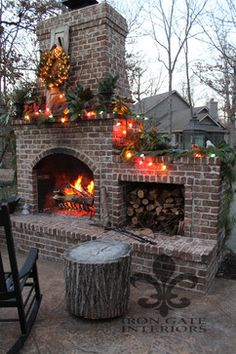 brick fireplace and fall decor. LOVE!