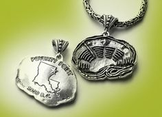 Poverty Point in Epps, Louisiana. A UNESCO World Heritage Site. Sterling silver pendant