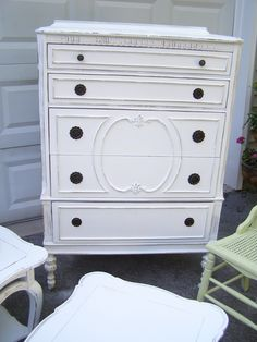 Shabby-Chic Chest of Drawers $395 - naperville http://furnishly.com/shabby-chic-antique-chest-of-drawers.html.  like this for my room