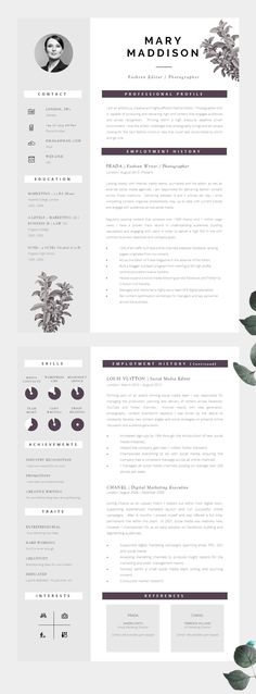 Well Designed CV, Modern yet Professional - Information is clear to read and well structured.  CV Design | Resume Design | CV Template | Resume Template
