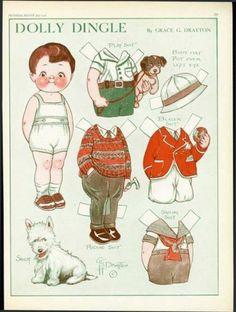 1930 Dolly Dingle Paper Dolls July Grace Drayton Dogs | eBay