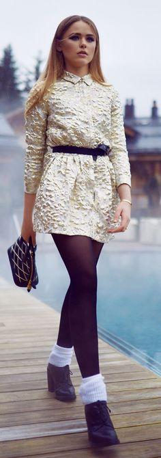 White Gold Embellished Little Dress #Fashionistas
