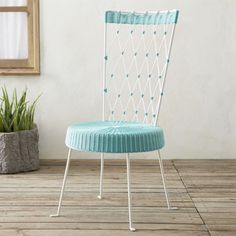 High Back Harlequin Chair Turquoise Seat White Back  | Crate and Barrel  #bicmarkit