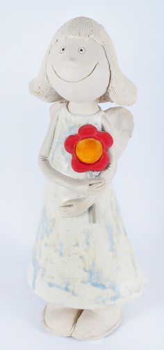 Ceramic handmade angel - girl with flower. Made from chamotte by Midene. SC171