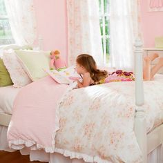 LG wants for her room.    Shabby Chenille Kids Bedding | Little Girl's Kids Bedding in Vintage Floral | Carousel Designs 500x500 image