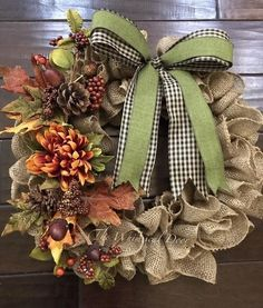 Fall burlap wreath - fall wreath - burlap wreath- Create a Fall welcome with our burlap fall wreath. Our fall burlap wreath made with natural burlap paired with a two tone plaid bow, fall picks and florals. Diy Fall Wreath, Autumn Wreaths, Wreath Crafts, Holiday Wreaths, Christmas Decorations, Wreath Burlap, Wreath Ideas, Burlap Christmas, Christmas Trees