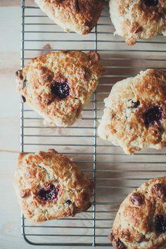 marzipan chocolate scones with raspberry jam