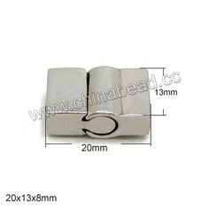 Jewelry Findings, Magnetic stainless steel cord clasp, Approx 20x13x8mm, Hole: Approx 10x5mm, 10 sets per bag, Sold by bags