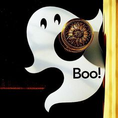 Diy Eerie Ghost Doorknob Hanger. It suggests drawing the ghost freehand, but if you take a screen shot of the image, enlarge it, then cut it out, you can use it as a template for your card stock ghost door hanger.