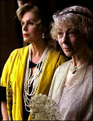 "Geraldine McEwan as the mischievous but sharp spinster-sleuth Jane Marple with Joanna Lumley as Dolly Bantry, both in early Fifties finery from ""Marple: The Body in the Library."""