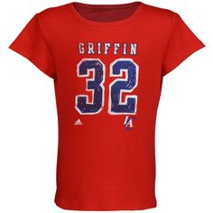 adidas Blake Griffin LA Clippers Youth Girls Name and Number Fashion Fit T-Shirt - Red - $5.99