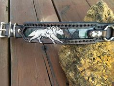 Wolves at Play Hand Tooled Leather Dog Collar by FinelyTooled