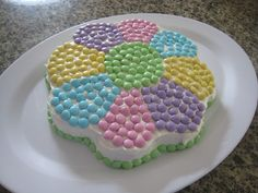 easy M&M cake, surprisingly the candy tasted great with the cake and icing.