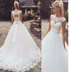 New Arrival Lace A-line Elegant Tight Modest Vintage Wedding Dresses. The wedding dresses are fully lined, 4 bones in the bodice, chest pad in the bust, lace up back or zipper back are all available,