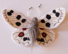 Apollo Butterfly Statement Brooch Fiber Art Sculpture Natural History Gift Nature Lovers Gift Entomology Gift Luxury Woodland Gift for Her