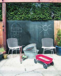 black-chawkboard-on-the-garden-fence