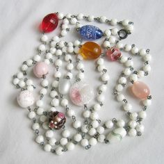 Vintage Venetian Glass, Milk Glass,  Lampwork and Wedding Cake Bead Necklace by MyVintageJewels