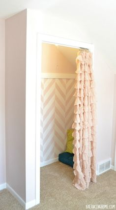 light, sophisticated pink for walls and nook/herringbone stencil: Benjamin Moore Wild Aster