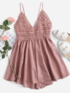Cheap Rompers, Buy Directly from China Suppliers:ROMWE Contrast Lace Knot Back Cami Romper Women Pink V Neck Straps Sleeveless Playsuit Summer Casual Wide Leg Romper Cute Rompers, Rompers Women, Jumpsuits For Women, Look Fashion, Fashion Models, Fashion Outfits, Womens Fashion, Fashion Clothes, Girl Clothing