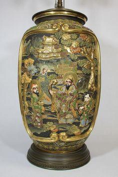 satsuma pottery | Details about Large Antique Japanese Satsuma Pottery Vase Lamp Hand ...