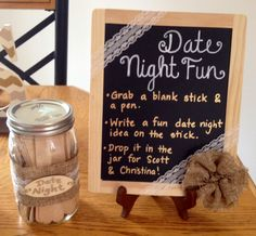 Wedding activity: date night suggestions for the couple written on craft sticks and then placed in a mason jar.