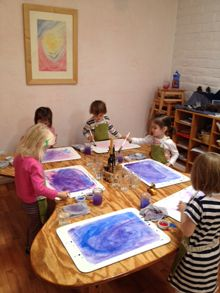 Sun Garden Preschool / Early Childhood at Tucson Waldorf School - painting with watercolor: Imagination and Play
