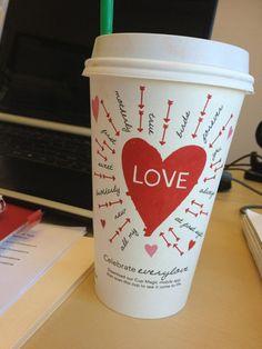 Love the cute Valentine's design at Starbucks! Starbucks Coffee, Hot Coffee, Coffee Cups, Starbucks Valentines, Valentines Design, Valentine's Day, Cup Design, Kids Writing, Pretty And Cute