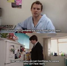 Corn flakes and frosties - Peep Show