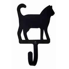Wall Hook, Cat, Wrought Iron, Approximate size: 3 W x 4 H x 1 D, Inside Hook Depth This wall hook with a cat silhouette is created of wrought iron. The wall hook has a baked-on black satin matte powder coating. Made in the USA. Hunting Lodge Decor, Decorative Wall Hooks, Plasma, Cat Wall, Creative Walls, Iron Wall, Home Hardware, Dot And Bo, Wrought Iron