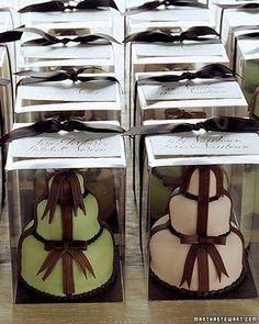 Individual-size wedding cake favors. #Chocolate Brown. #Green. @Jason Stocks-Young Stocks-Young Jones Style Weddings