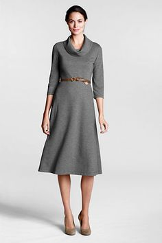for winter work - Women's Ponté Cowlneck Dress from Lands' End