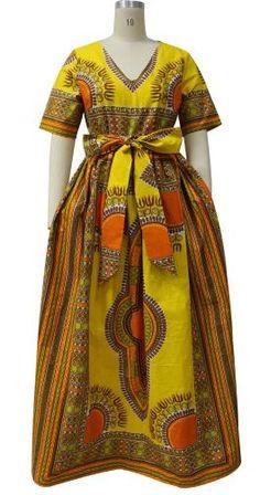 Jupe longue robe maxi robe à manches courtes avec par UrbaneAfrican