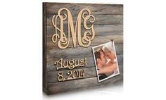 """Custom 18""""x18"""" or 24""""x24"""" 3-Letter Monogram and Date Picture Board"""