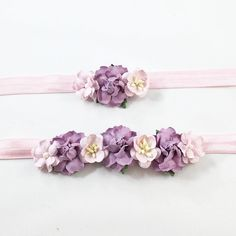 Mommy and Me- Pink and Purple flowers on Pink Headband