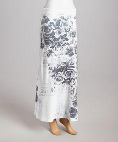 Look at this #zulilyfind! White Floral Fold-over Maxi Skirt by Casa Lee #zulilyfinds