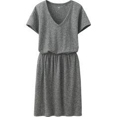 UNIQLO Slub Dress ($4.13) ❤ liked on Polyvore featuring dresses, dark gray, loose t shirt dress, loose fit dress, tshirt dress, loose cotton dress and shirred dress