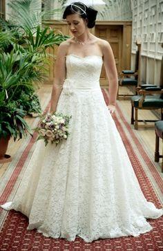 Wedding Dresses: Strapless Lace Dress