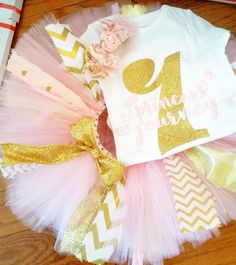 Gold Glitter & Pink Personalized first birthday Princess Onesie and Tutu, Glitter gold onesie, Girls first birthday outfit, Cake smash tutu - pinned by pin4etsy.com