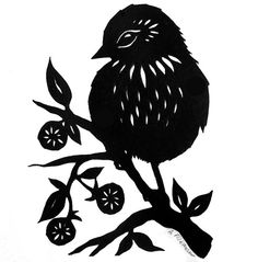 On the Berry Branch - Paper Cutting    2.5 x 3.5 in. Sold. www.ruralpearl.com  Copyright 2009 Angie Pickman. All Rights Reserved.