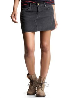 Corduroy Mini Skirt in Flint Gray